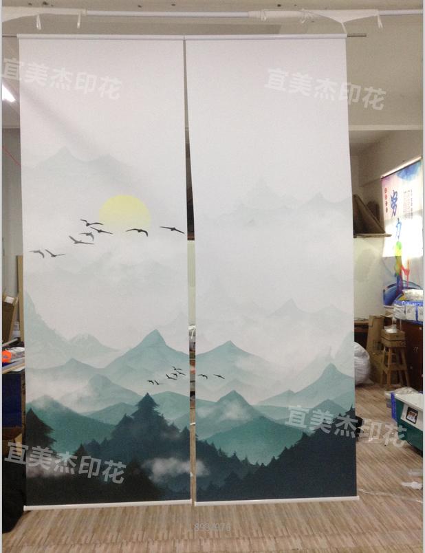 办公室客厅山水画卷帘